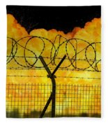 Realistic Orange Fire Explosion Behind Restricted Area Barbed Wire Fence Fleece Blanket