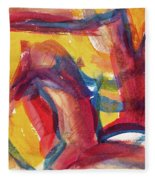Red Abstract Painting Fleece Blanket