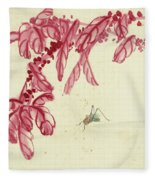 Red Autumnal Leaves Insect Fleece Blanket