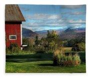 Red Barn In Newbury Vermont Fleece Blanket