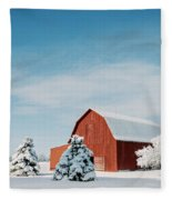 Red Barn With Snow Fleece Blanket