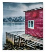 Red Boathouse In Norris Point, Newfoundland Fleece Blanket