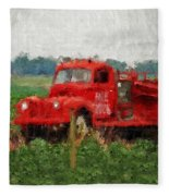 Red Fire Truck Fleece Blanket