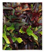 Red Green  Leaves Fleece Blanket