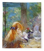 Red-haired Girl Sitting On A Veranda Fleece Blanket