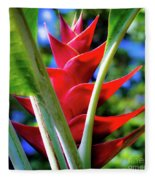 Red Heliconia Hawaii Fleece Blanket