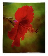 Red Hibiscus Art Fleece Blanket