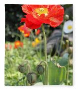 Red Iceland Poppy Fleece Blanket