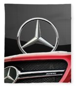 Red Mercedes - Front Grill Ornament And 3 D Badge On Black Fleece Blanket