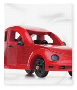 Red Retro Wooden Toy Car Isolated On White Background Fleece Blanket