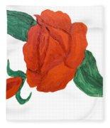 Red Rose, Oil Painting Fleece Blanket