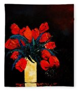 Red Tulips Fleece Blanket