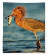 Reddish Egret With Fish Fleece Blanket