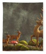 Reindeer Scene Fleece Blanket