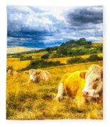 Resting Cows Art Fleece Blanket