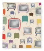 retro TV pattern  Fleece Blanket by Setsiri Silapasuwanchai