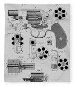 Revolving Fire Arm Patent 1881 Fleece Blanket