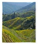 Rice Terraces In Guilin, China  Fleece Blanket