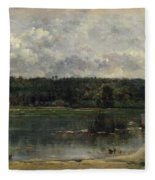River Scene With Ducks Fleece Blanket