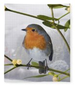 Robin On Mistletoe Fleece Blanket