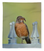Robin With Worm I Fleece Blanket