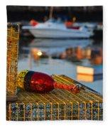 Rockport Ma Lobster Traps Fleece Blanket