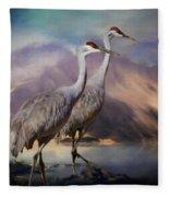Rocky Mountain Sandhill Cranes Fleece Blanket