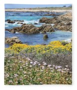 Rocky Surf With Wildflowers Fleece Blanket