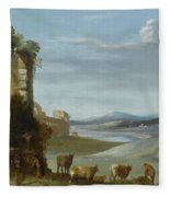 Roman Landscape With Ruins Fleece Blanket