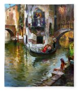 Romance In Venice Fleece Blanket