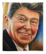 Ronald Reagan Portrait Fleece Blanket