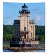 Rondout Lighthouse On The Hudson River New York Fleece Blanket