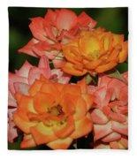 Pink And Orange Roses Fleece Blanket