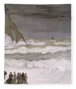 Rough Sea At Etretat Fleece Blanket