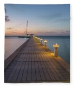 Rum Point Pier At Sunset Fleece Blanket