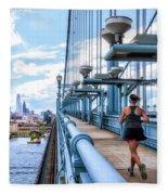 Running The Bridge Fleece Blanket
