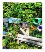 Rural Mailboxes  Fleece Blanket
