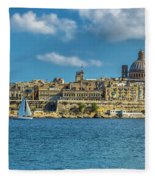 Sail Boat And Cathedral Fleece Blanket