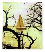 Sailboat Golden Sunset Fleece Blanket