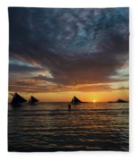 Sailing Boats At Sunset Boracay Tropical Island Philippines Fleece Blanket