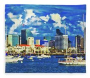 Sailing In San Diego Bay  Fleece Blanket