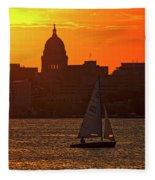 Sailing - Lake Monona - Madison - Wisconsin Fleece Blanket