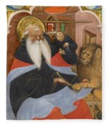 Saint Jerome Extracting A Thorn From A Lion's Paw Fleece Blanket