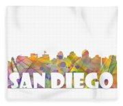 San Diego California Skyline Fleece Blanket