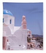 Santorini Oia Blue Domed Church Fleece Blanket
