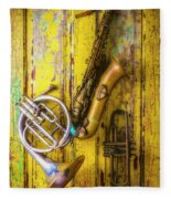 Sax French Horn And Trumpet Fleece Blanket
