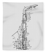 Saxophone Patent Drawing From 1933 Fleece Blanket