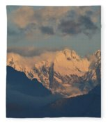 Scenic View Of The Dolomites Mountains With A Cloudy Sky  Fleece Blanket