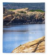 Scenic Willow Lake  Fleece Blanket