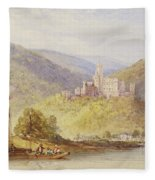 Schloss Stolzenfels From The Banks Of The Lahn Fleece Blanket